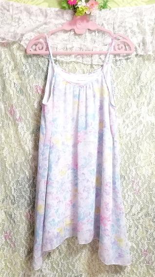 水色紫淡い花柄シフォンキャミソールワンピース Light blue purple floral pattern chiffon camisole onepiece_画像3