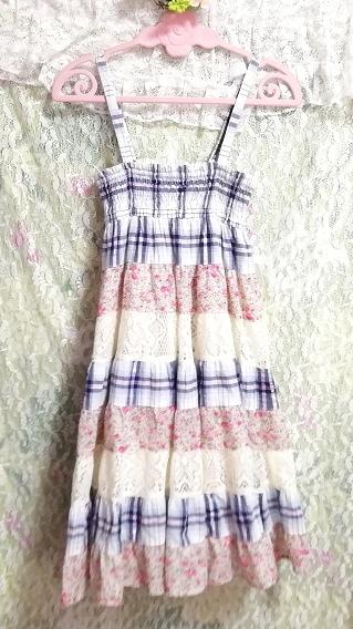 青チェックピンク花柄白レースキャミソールワンピース Blue pink floral pattern white lace camisole onepiece_画像5
