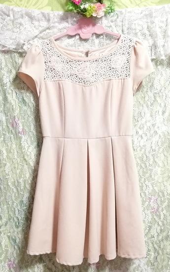 ベージュピンク胸元編み花柄ピンクワンピース Beige pink chest knitting floral pattern pink onepiece_画像2