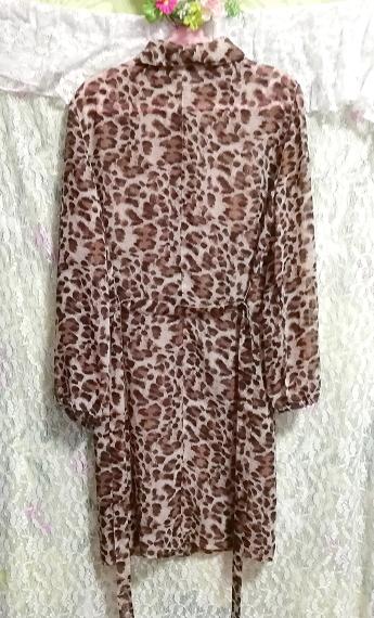 茶色ヒョウ柄シフォンシースルーブラウス羽織ロングカーディガンタグ付 Brown leopard print chiffon long cardigan_画像5