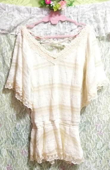 CECIL McBEE セシルマクビー フローラルホワイトレースセーターチュニック Floral white lace sweater tunic_画像6