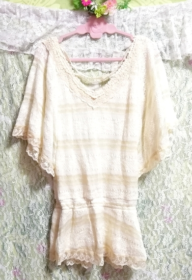 CECIL McBEE セシルマクビー フローラルホワイトレースセーターチュニック Floral white lace sweater tunic_画像7