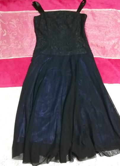 紺ネイビーレースシフォンノースリーブワンピースドレス Navy lace chiffon sleeveless onepiece dress_画像1