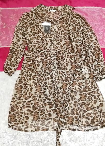 茶色ヒョウ柄シフォンシースルーブラウス羽織ロングカーディガンタグ付 Brown leopard print chiffon long cardigan_画像1