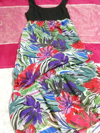 黒トップスアート花柄スカートノースリーブマキシワンピース日本製 Black tops art floral skirt sleeveless maxi onepiece made in japan_画像1