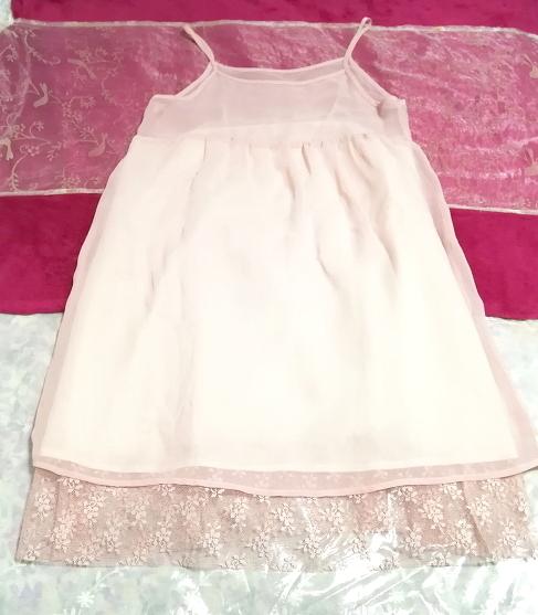 ピンクシースルーシフォンレースキャミソールワンピース日本製 Pink chiffon lace camisole onepiece made in japan_画像3