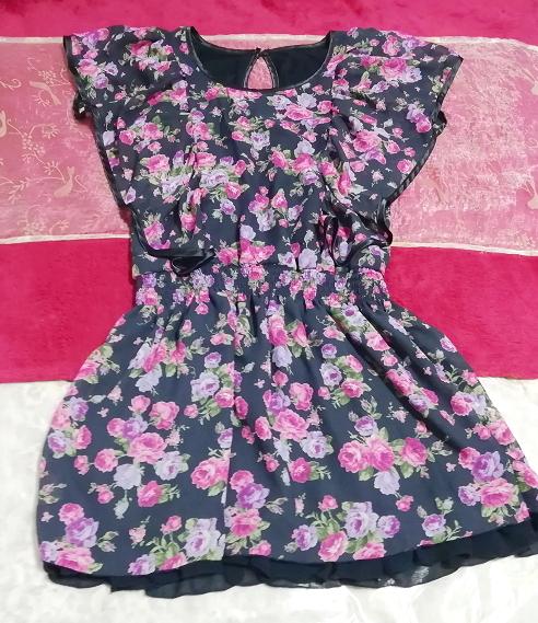CECIL McBEE セシルマクビー 紺ネイビー花柄シフォンチュニックワンピース Navy floral pattern chiffon tunic onepiece_画像1