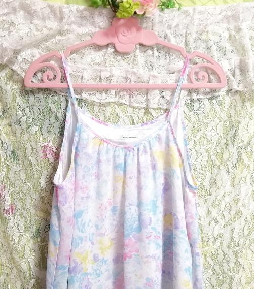 水色紫淡い花柄シフォンキャミソールワンピース Light blue purple floral pattern chiffon camisole onepiece_画像4