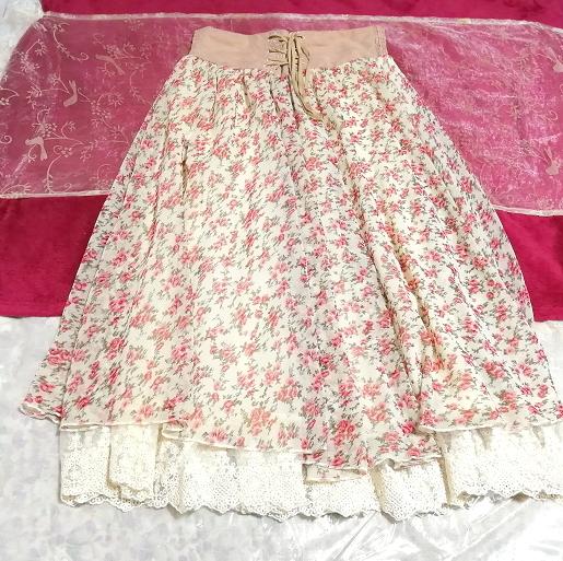 ピンク花柄ガーリーシフォンレーススカート Pink floral girly chiffon lace skirt_画像1