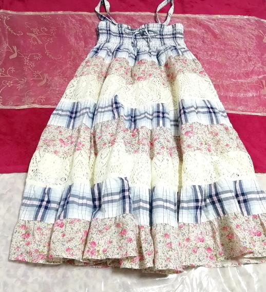 青チェックピンク花柄白レースキャミソールワンピース Blue pink floral pattern white lace camisole onepiece_画像1
