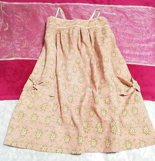 ピンクベージュエスニック柄キャミソールトップス日本製 Pink beige ethnic pattern camisole tops made in japan_画像1