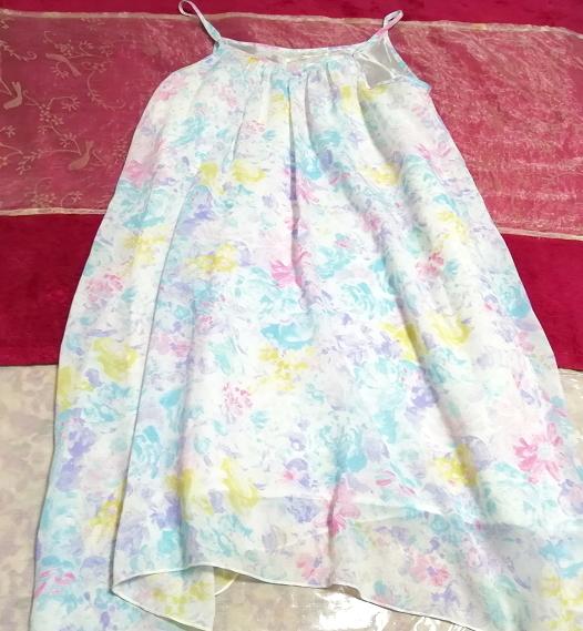 水色紫淡い花柄シフォンキャミソールワンピース Light blue purple floral pattern chiffon camisole onepiece_画像2
