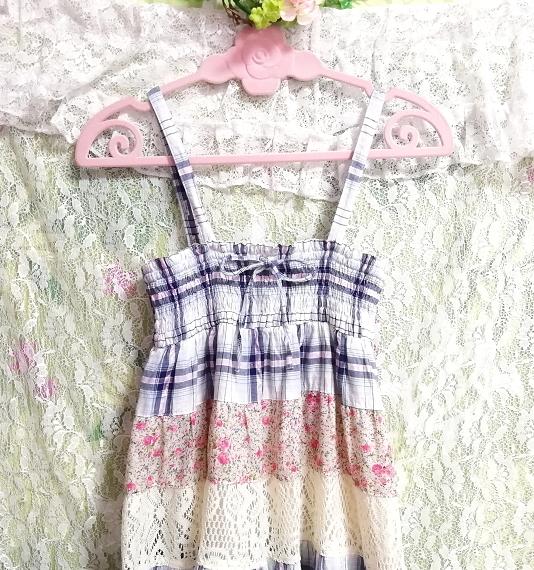 青チェックピンク花柄白レースキャミソールワンピース Blue pink floral pattern white lace camisole onepiece_画像6