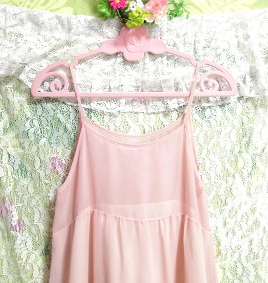 ピンクシースルーシフォンレースキャミソールワンピース日本製 Pink chiffon lace camisole onepiece made in japan_画像2