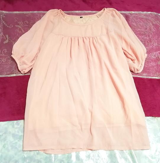 ピンクシンプルシフォン半袖チュニック Pink simple chiffon short sleeve tunic_画像3