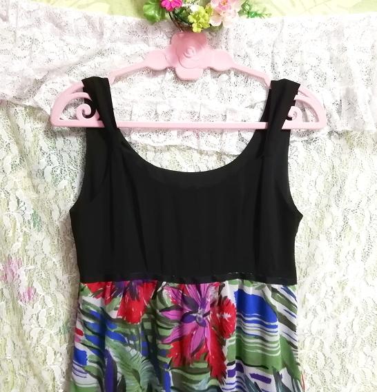 黒トップスアート花柄スカートノースリーブマキシワンピース日本製 Black tops art floral skirt sleeveless maxi onepiece made in japan_画像6