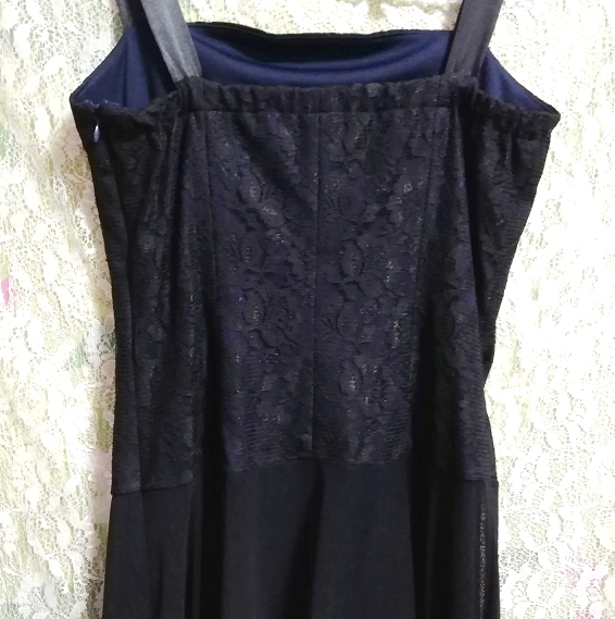 紺ネイビーレースシフォンノースリーブワンピースドレス Navy lace chiffon sleeveless onepiece dress_画像6