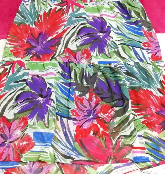 黒トップスアート花柄スカートノースリーブマキシワンピース日本製 Black tops art floral skirt sleeveless maxi onepiece made in japan_画像4