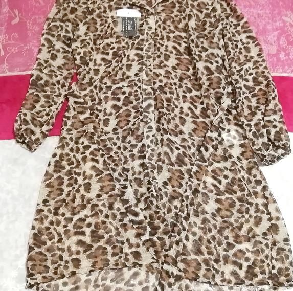 茶色ヒョウ柄シフォンシースルーブラウス羽織ロングカーディガンタグ付 Brown leopard print chiffon long cardigan_画像2