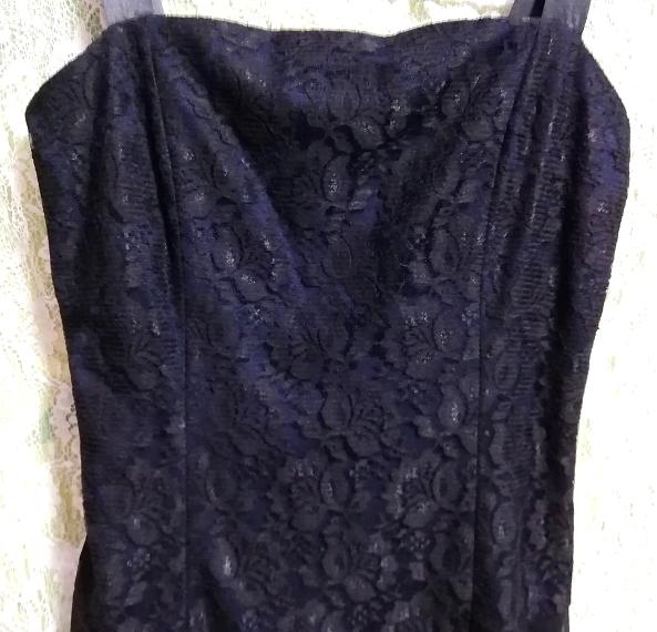 紺ネイビーレースシフォンノースリーブワンピースドレス Navy lace chiffon sleeveless onepiece dress_画像5