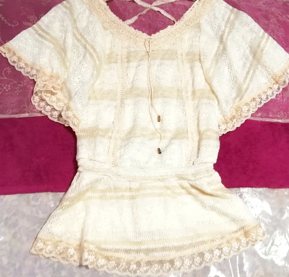 CECIL McBEE セシルマクビー フローラルホワイトレースセーターチュニック Floral white lace sweater tunic_画像2