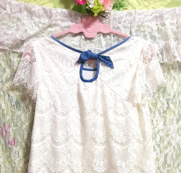 白ホワイトレースデニムスカートワンピース White lace denim skirt onepiece_画像4