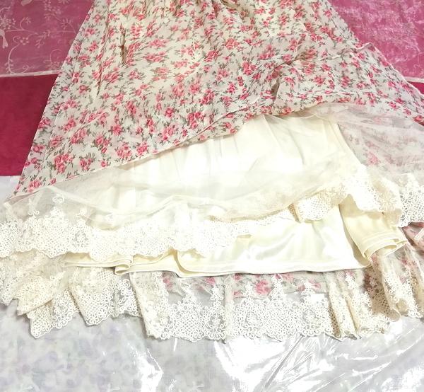 ピンク花柄ガーリーシフォンレーススカート Pink floral girly chiffon lace skirt_画像6