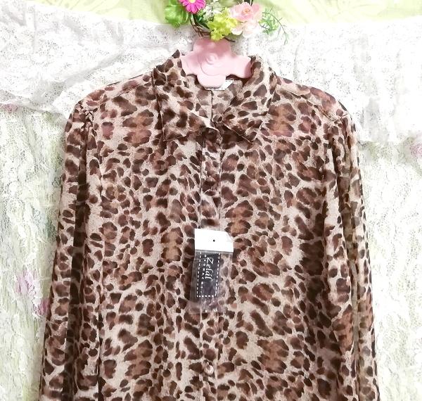 茶色ヒョウ柄シフォンシースルーブラウス羽織ロングカーディガンタグ付 Brown leopard print chiffon long cardigan_画像8