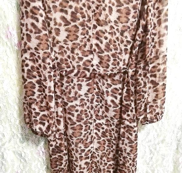 茶色ヒョウ柄シフォンシースルーブラウス羽織ロングカーディガンタグ付 Brown leopard print chiffon long cardigan_画像6