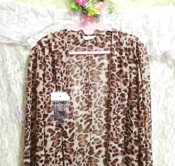 茶色ヒョウ柄シフォンシースルーブラウス羽織ロングカーディガンタグ付 Brown leopard print chiffon long cardigan_画像7