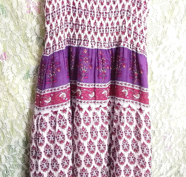 ROTEROSE 紫白赤エスニック柄コットン100%ロングマキシワンピース Purple white red ethnic pattern 100% cotton long maxi onepiece_画像6