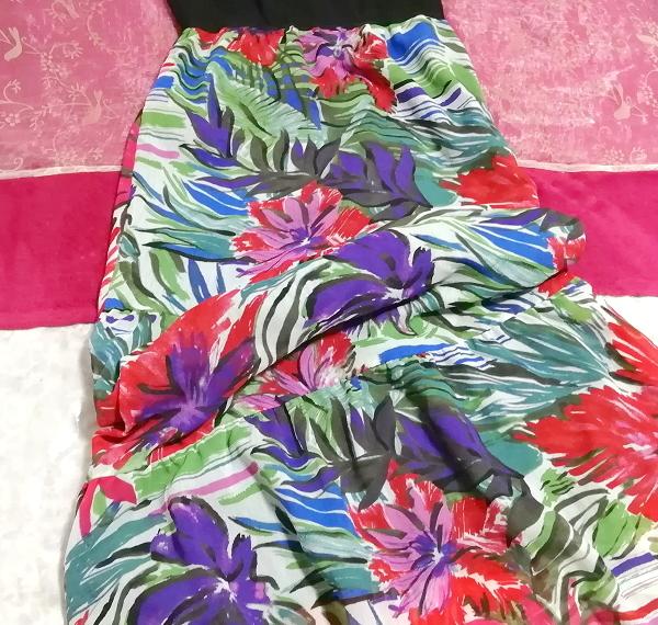 黒トップスアート花柄スカートノースリーブマキシワンピース日本製 Black tops art floral skirt sleeveless maxi onepiece made in japan_画像2