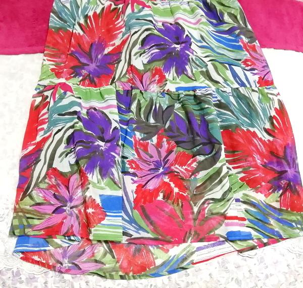 黒トップスアート花柄スカートノースリーブマキシワンピース日本製 Black tops art floral skirt sleeveless maxi onepiece made in japan_画像3