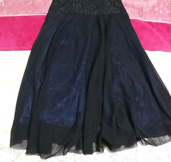 紺ネイビーレースシフォンノースリーブワンピースドレス Navy lace chiffon sleeveless onepiece dress_画像3