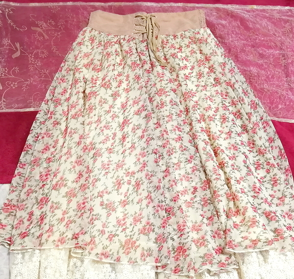 ピンク花柄ガーリーシフォンレーススカート Pink floral girly chiffon lace skirt_画像2