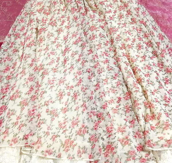 ピンク花柄ガーリーシフォンレーススカート Pink floral girly chiffon lace skirt_画像5