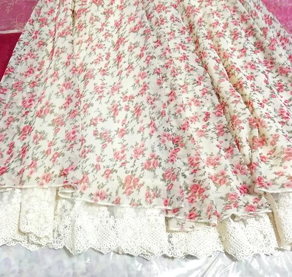 ピンク花柄ガーリーシフォンレーススカート Pink floral girly chiffon lace skirt_画像4