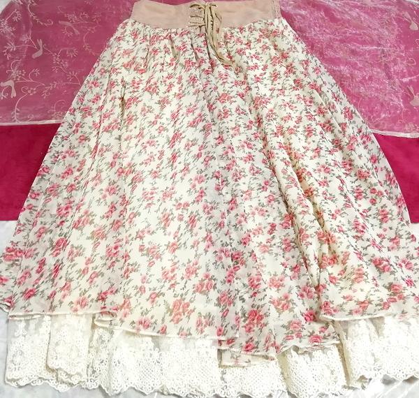ピンク花柄ガーリーシフォンレーススカート Pink floral girly chiffon lace skirt_画像3