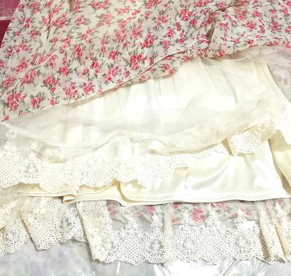 ピンク花柄ガーリーシフォンレーススカート Pink floral girly chiffon lace skirt_画像7