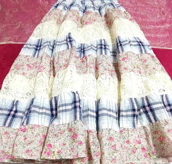 青チェックピンク花柄白レースキャミソールワンピース Blue pink floral pattern white lace camisole onepiece_画像2