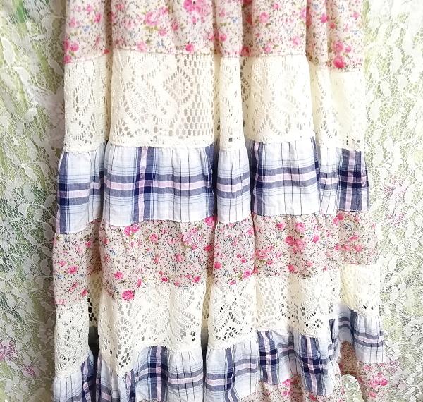 青チェックピンク花柄白レースキャミソールワンピース Blue pink floral pattern white lace camisole onepiece_画像7