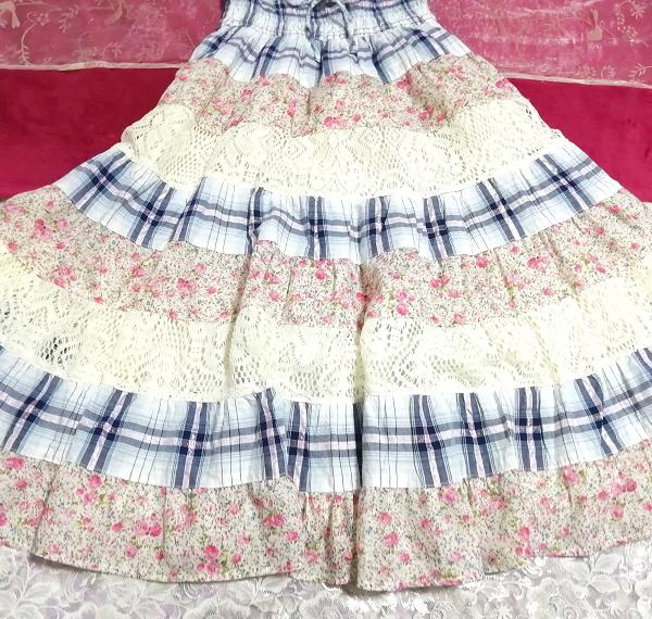 青チェックピンク花柄白レースキャミソールワンピース Blue pink floral pattern white lace camisole onepiece_画像3