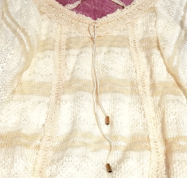 CECIL McBEE セシルマクビー フローラルホワイトレースセーターチュニック Floral white lace sweater tunic_画像4