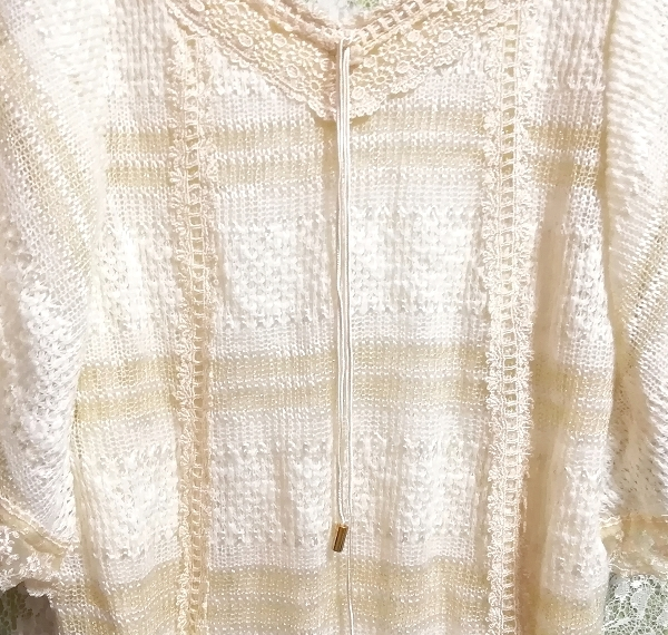 CECIL McBEE セシルマクビー フローラルホワイトレースセーターチュニック Floral white lace sweater tunic_画像9