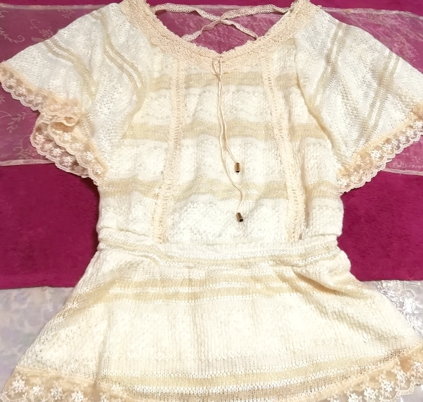 CECIL McBEE セシルマクビー フローラルホワイトレースセーターチュニック Floral white lace sweater tunic_画像5