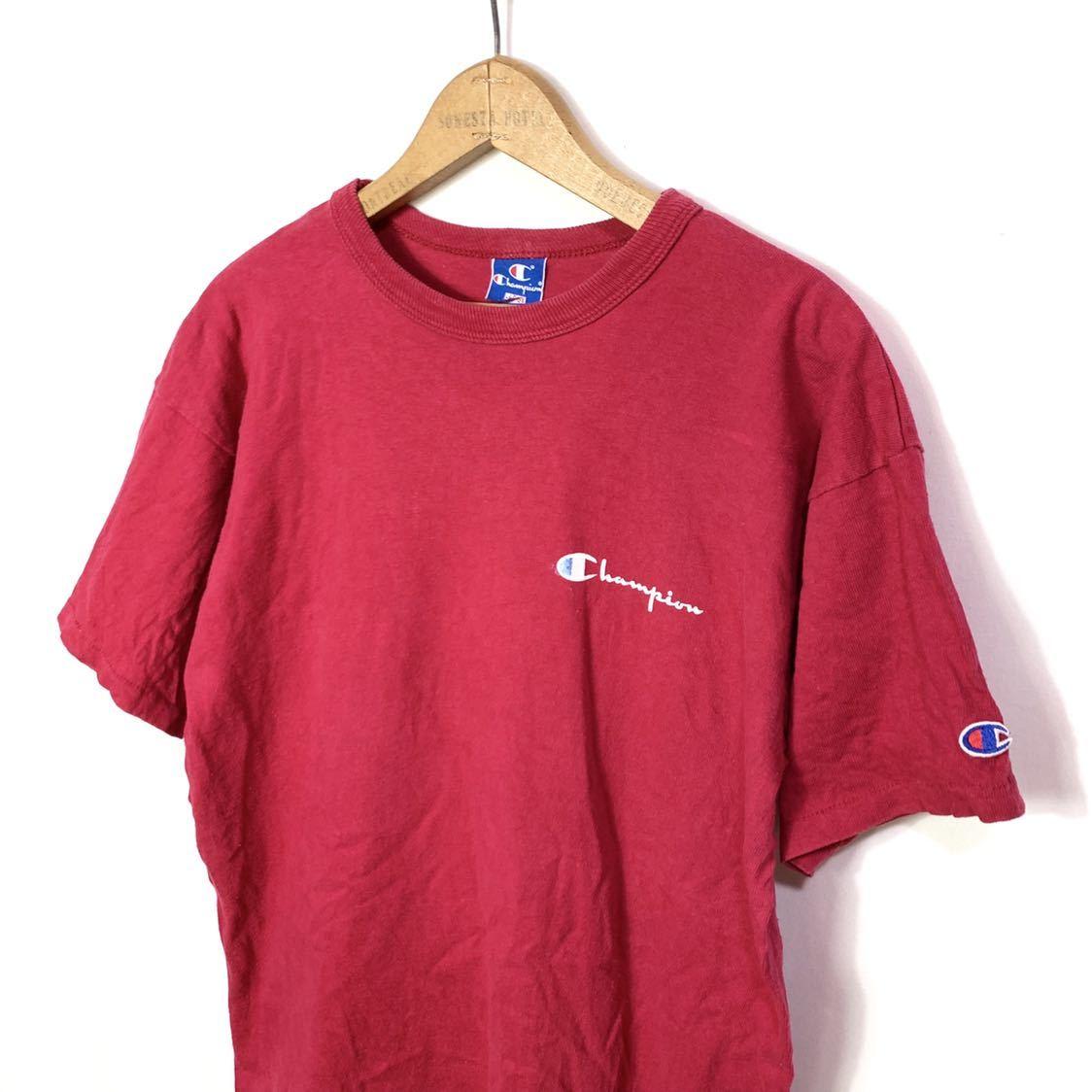 ■ ビンテージ USA製 90s チャンピオン 胸ロゴプリント Tシャツ Lサイズ 赤 コットン100% シングルステッチ champion 青タグ ■_画像2