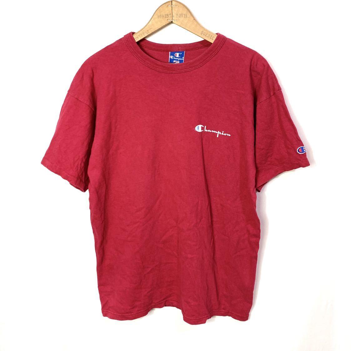 ■ ビンテージ USA製 90s チャンピオン 胸ロゴプリント Tシャツ Lサイズ 赤 コットン100% シングルステッチ champion 青タグ ■_画像1