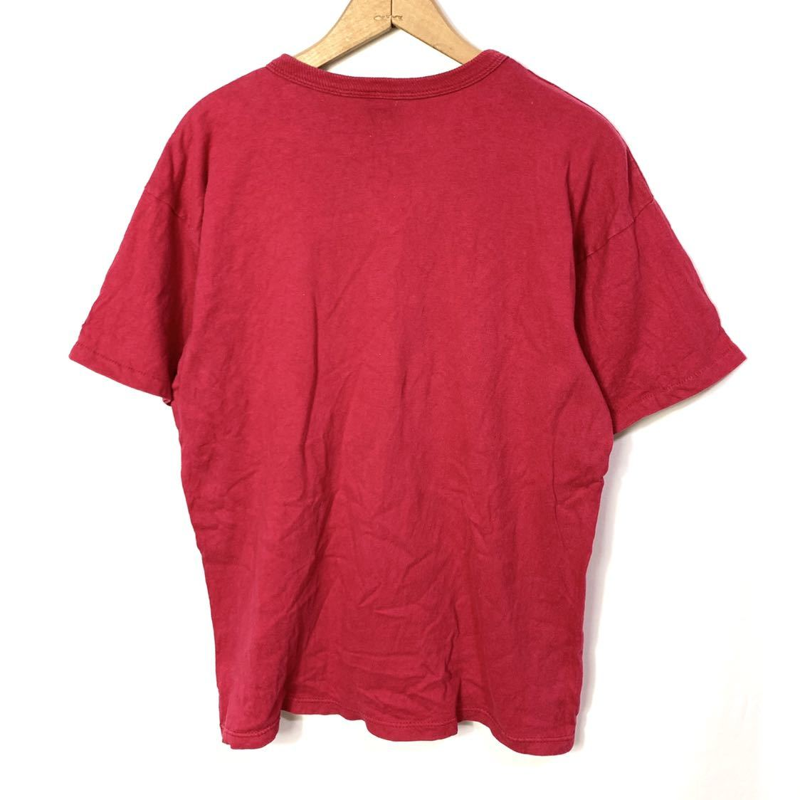 ■ ビンテージ USA製 90s チャンピオン 胸ロゴプリント Tシャツ Lサイズ 赤 コットン100% シングルステッチ champion 青タグ ■_画像7