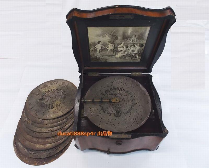 1800年代製造 ポリフォン POLYPHON ディスク型 オルゴール ディスク 10枚付き_画像1