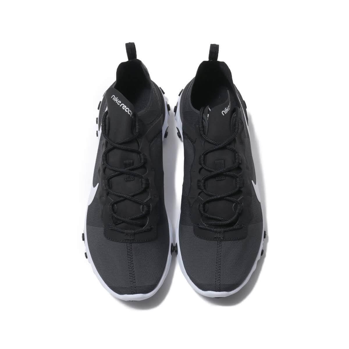 送料無料 28cm●ナイキ リアクト エレメント 55 黒 白 NIKE REACT ELEMENT 55 BQ6166-003 軽量 スニーカー ランニング BLACK_画像5